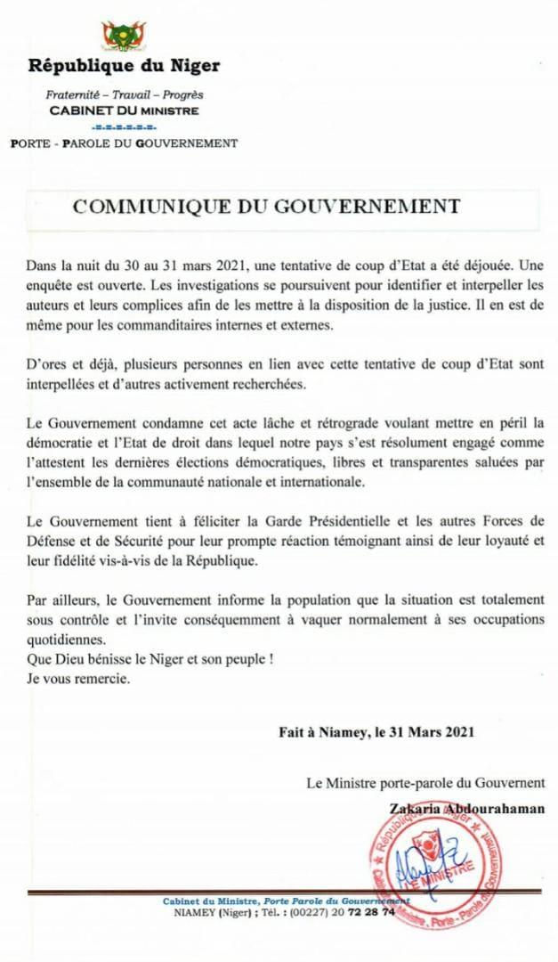 Communique gouvernement 31 03 2021