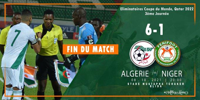 Eliminatoires Coupe du Monde 2022: le Mena écrasé par 6 buts à 1 par les Fennecs d'Algérie