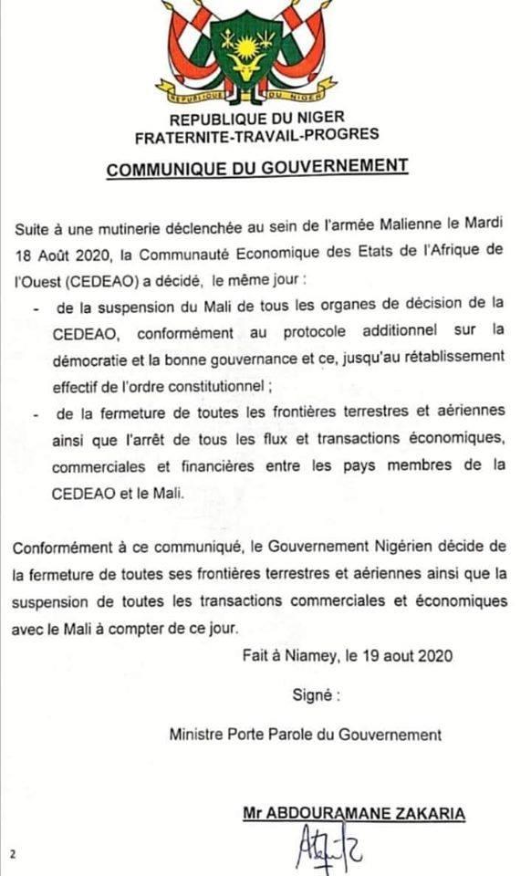 communique le gouvernement niger 19 08 2020