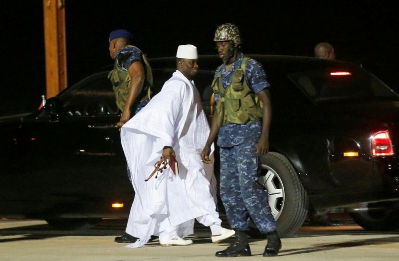 yahya jammeh arrives at the airport gambia