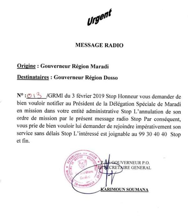 message radio gouv maradi
