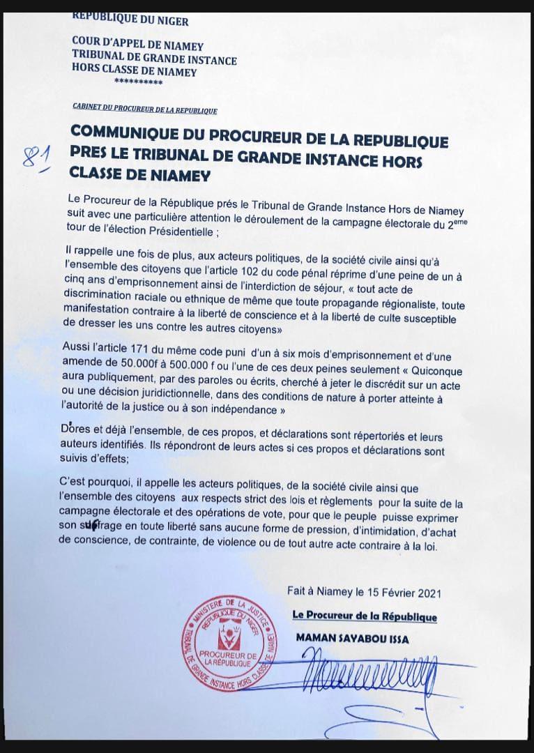 Communique procureur Niamey 15 02 2021