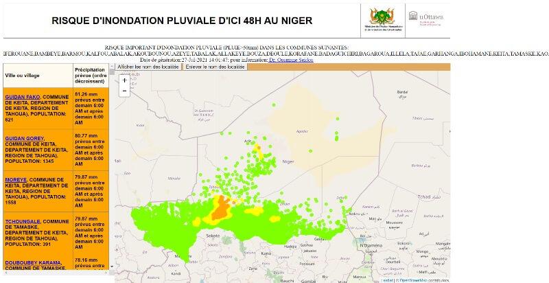 Alerte météo: risque d'inondation pluviale d'ici 48h dans plusieurs communes du Niger